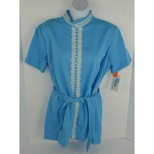Vintage Other - Vtg 1970's Polyester Pant Suit w/ Lace Trim